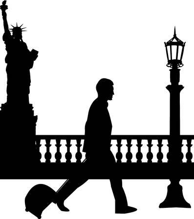 viaje de negocios: Un hombre de negocios que viaja en viaje de negocios en la silueta de Nueva York, uno en la serie de im�genes similares Vectores