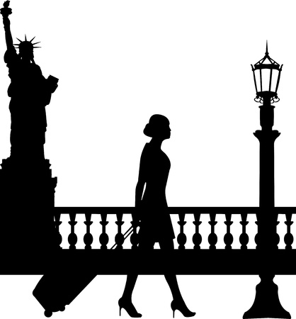viaje de negocios: Una mujer de negocios que viajan en un viaje de negocios en la silueta de Nueva York, uno en la serie de im�genes similares Vectores