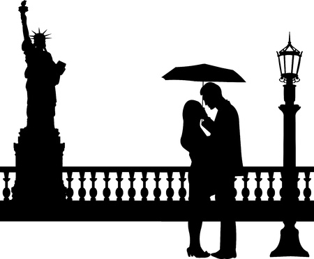 Romantic couple in New York under umbrella silhouette, one in the series of similar image Vector