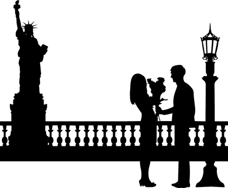woo: Young man giving his girlfriend a bouquet of flowers in New York silhouette, one in the series of similar images