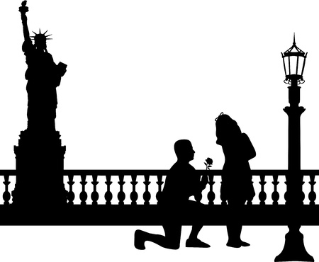 woo: A young man with rose, kneel and woo the girl in New York silhouette, one in the series of similar images  Illustration