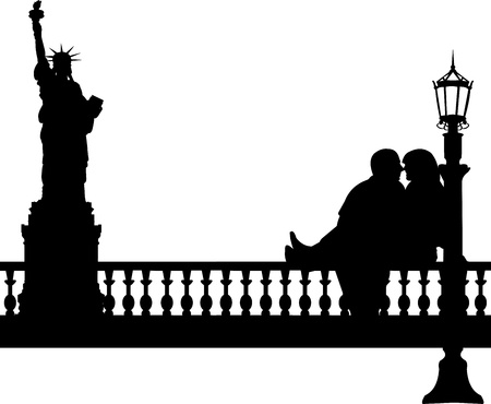 woo: Young boyfriend and girlfriend are kissing  in New York silhouette, one in the series of similar images