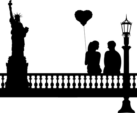 woo: Couple in love iwith heart balloon in New York silhouette, one in the series of similar images