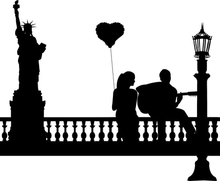couple date: Couple in love where a guy plays guitar girl in New York silhouette, one in the series of similar images  Illustration