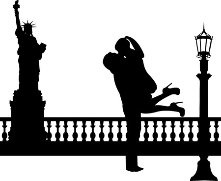 woo: Couple in love in New York silhouette, one in the series of similar images