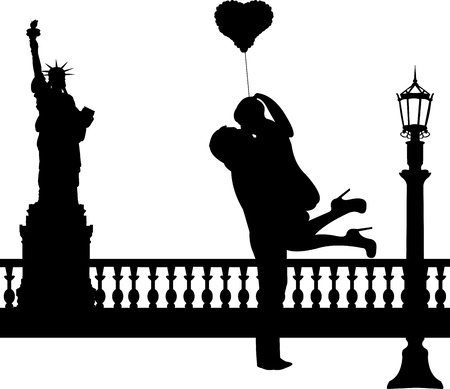 silueta masculina: Pareja en el amor con globo de coraz�n en la silueta de Nueva York, uno en la serie de im�genes similares