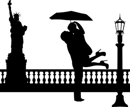 outdoor wedding: Couple in love with umbrella in New York silhouette, one in the series of similar images Illustration