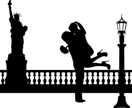 woo: Couple in love with bouquet of flowers in New York silhouette, one in the series of similar images