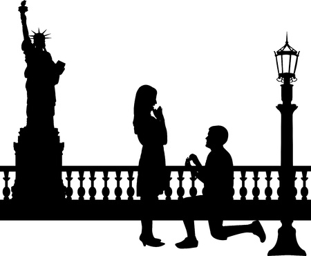 proposal: Romantic proposal in New York of a man proposing to a woman while standing on one knee silhouettes, one in the series of similar images
