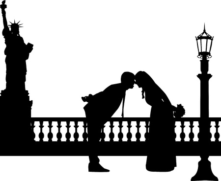 Wedding couple in New York silhouette, one in the series of similar images  Vector