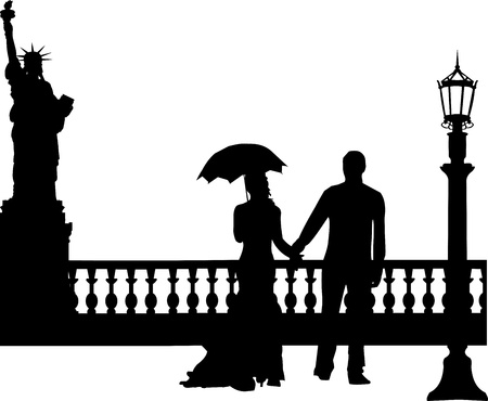 Wedding couple in New York silhouette, one in the series of similar images Stock Vector - 19712154