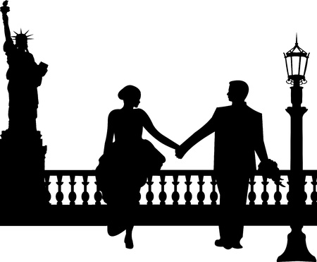 lamp silhouette: Wedding couple in New York silhouette, one in the series of similar images