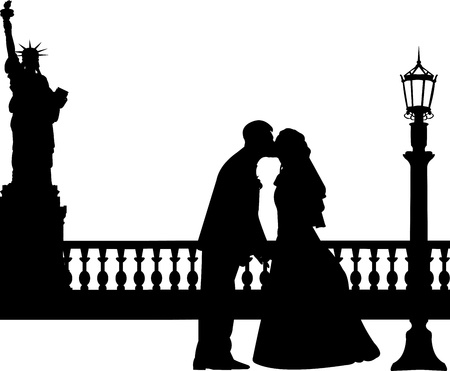 similar images: Wedding couple in New York silhouette, one in the series of similar images