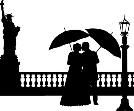 Wedding couple in New York silhouette, one in the series of similar images  Stock Vector - 19712149