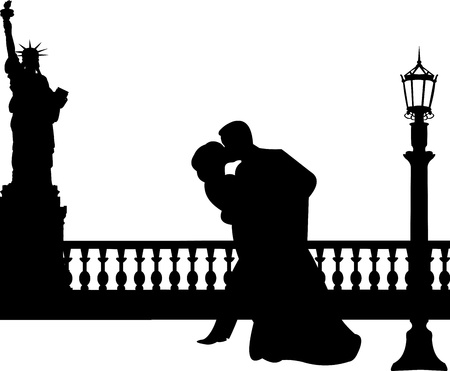 romantic getaway: Wedding couple in New York silhouette, one in the series of similar images