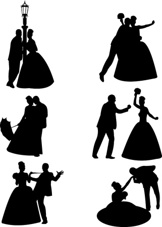 wedding gown: Wedding couples, groom and a bride in a different unusual poses silhouette, one in the series of similar images  Illustration