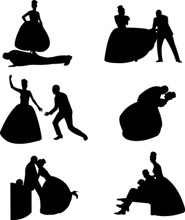 engagement silhouette: Wedding couples, groom and a bride in a different unusual poses silhouette, one in the series of similar images  Illustration