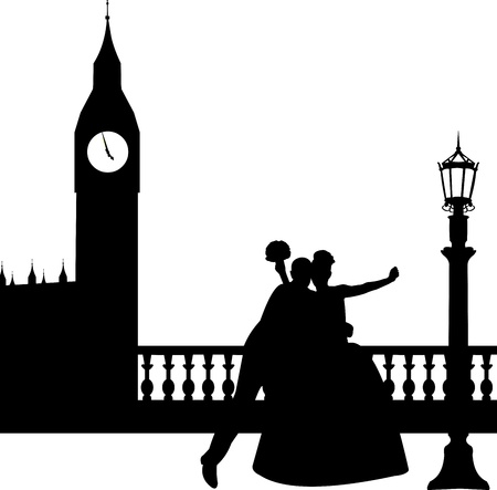 similar images: Wedding couple in front of Big Ben in London silhouette, one in the series of similar images