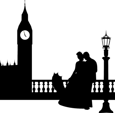 Wedding couple in front of Big Ben in London silhouette, one in the series of similar images  Stock Vector - 19940029
