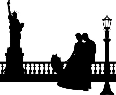Wedding couple in New York silhouette, one in the series of similar images  Stock Vector - 19940041