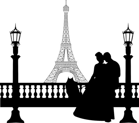 Wedding couple in front of Eiffel tower in Paris silhouette, one in the series of similar images Stock Vector - 19940052