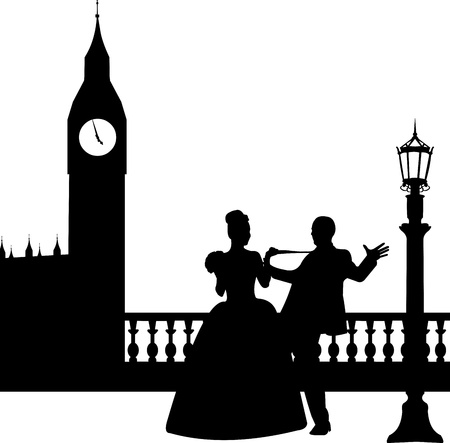 Wedding couple in front of Big Ben in London silhouette, one in the series of similar images
