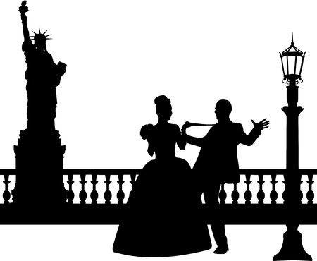 bride groom silhouette: Wedding couple in New York silhouette, one in the series of similar images