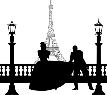 bride bouquet: Wedding couple in front of Eiffel tower in Paris silhouette, one in the series of similar images