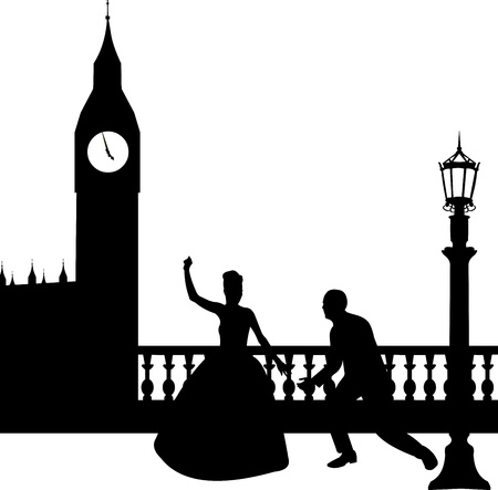 unusual valentine: Wedding couple in front of Big Ben in London silhouette, one in the series of similar images