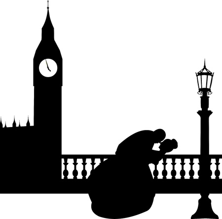 river thames: Wedding couple in front of Big Ben in London silhouette, one in the series of similar images