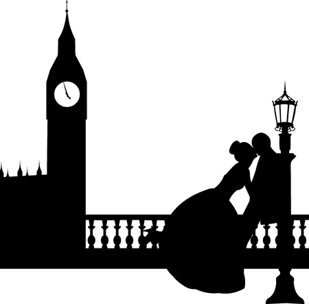 palace of westminster: Wedding couple in front of Big Ben in London silhouette, one in the series of similar images