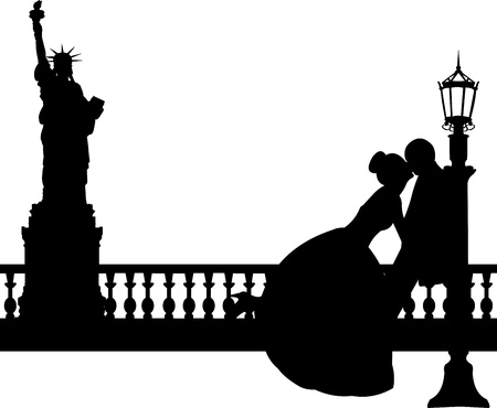 unusual valentine: Wedding couple in New York silhouette, one in the series of similar images