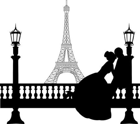 Bruidspaar in de voorkant van de Eiffel toren in Parijs silhouet, een in de reeks van soortgelijke foto's