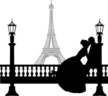 romantic getaway: Wedding couple in front of Eiffel tower in Paris silhouette, one in the series of similar images