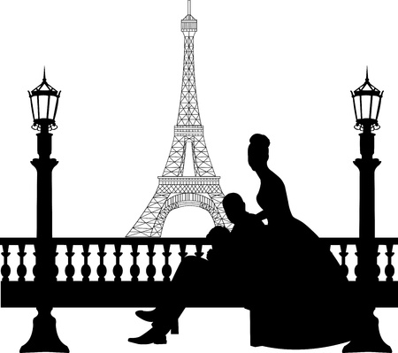 Wedding couple in front of Eiffel tower in Paris silhouette, one in the series of similar images Stock Vector - 19940076