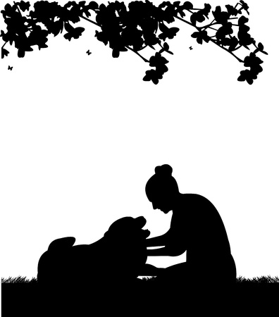 Happy girl playing and petting his dog in garden silhouette Vector
