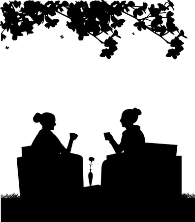 Silhouettes of girls in garden drinking coffee Vector