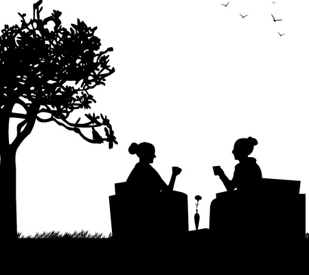 lawn chair: Silhouettes of girls in garden drinking coffee Illustration