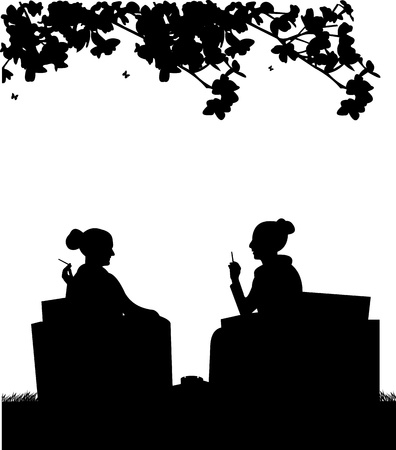Silhouettes of girls in garden smoking cigarettes Vector
