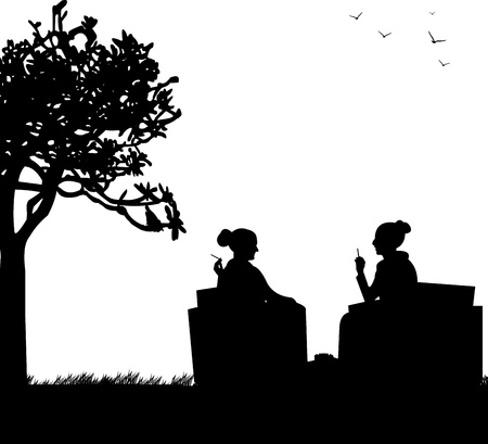 two friends talking: Silhouettes of girls in garden smoking cigarettes