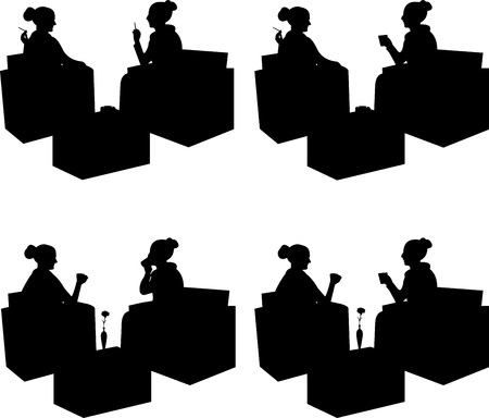 Silhouettes of girls in cafe drinking coffee and smoking cigarettes, black isolated Vector