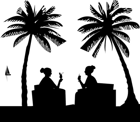 girls at the beach series: Silhouettes of girls on the beach drinking cocktails in summer between palm trees, one in the series of similar images