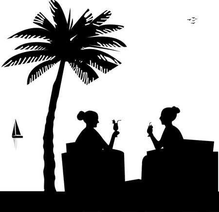 girls at the beach series: Silhouettes of girls on the beach drinking cocktails in summer under palm tree, one in the series of similar images