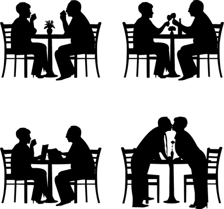 retirement home: Silhouette of  lovely retired elderly couple together in different situation