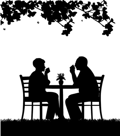 happy mature couple:  Lovely retired elderly couple drinking coffee in garden under the tree, one in the series of similar images silhouette