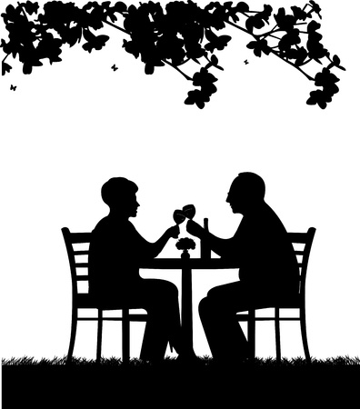 Lovely retired elderly couple drinking glass of wine in garden under the tree, one in the series of similar images silhouette Vector