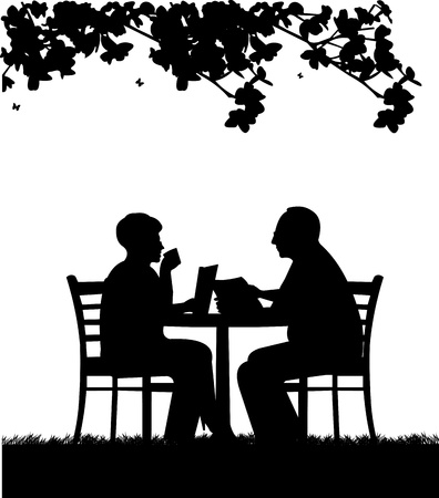 Lovely retired elderly couple reading a  newspaper in garden under the tree, one in the series of similar images silhouette Vector