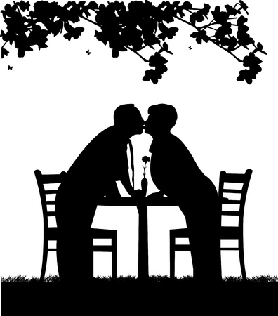 similar images: Silhouette of  lovely retired elderly couple who kiss, one in the series of similar images
