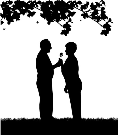 Lovely retired elderly couple where man gives a flower woman in garden or yard, one in the series of similar images silhouette Vector