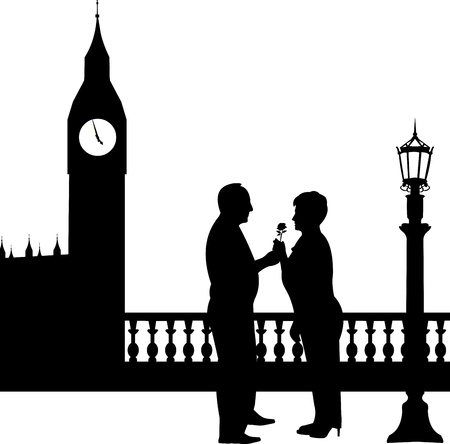 Lovely retired elderly couple where man gives a flower woman  in front of Big Ben in London, one in the series of similar images silhouette